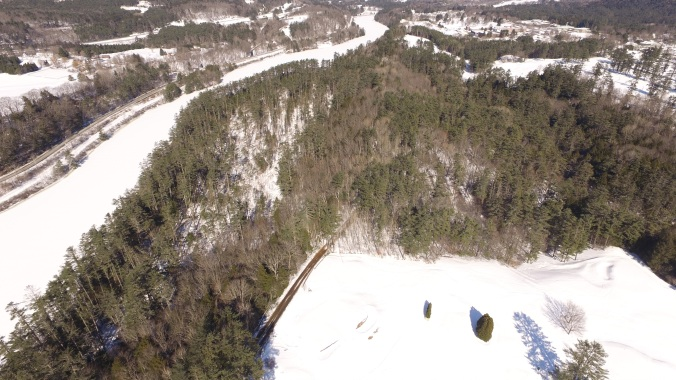 Aerial view of Pine Park looking north