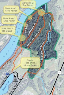 Trail map showing work areas