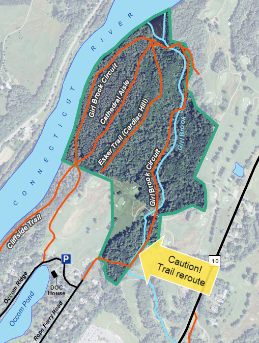 Pine Park trail map showing reroute area
